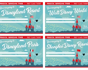 12 Printable Tickets for all Disney World and Disneyland resorts. You Fill & Print