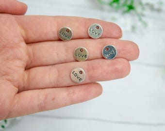 10 Love Charms Antique Silver Tone 9mm Double Side - Antique Gold Tone Love Charm