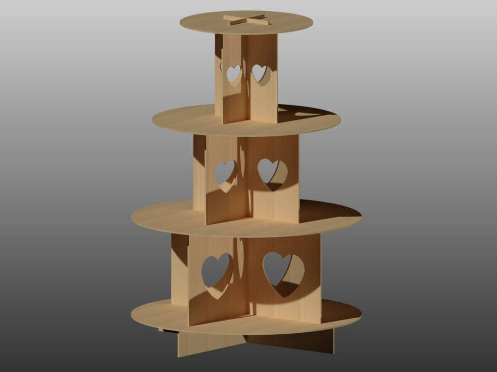 4 tier cupcake stand pattern vector for laser cutting cnc for Cupcake stand plans