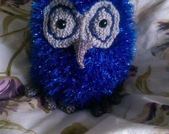 Blue Knitted Sparkle Tinsel Owl Ornament