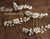 Handmade Floral Pearl Hair Pins,  Bridal Flower Clips, Boho Gold, White Rhinestones, Bohemian Wedding Hair Accessories