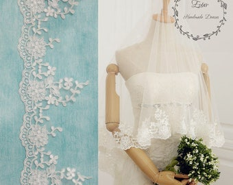 Lace Bridal Veil, Off White Veil, Fingertip Veil, Waltz Veil, Drop Veil, One Layer Veil, Blusher Veil