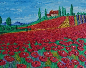 Original painting thick acrylic on canvas - Poppy Fields Forever