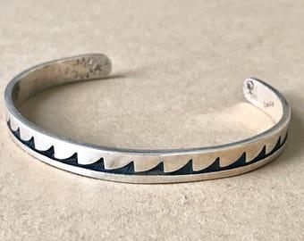 """Vintage Sterling Silver Cuff Bracelet, 5-1/8"""" + 1-1/2"""" Gap = 6-5/8"""" Total Bracelet Length"""