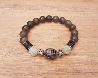 Man bracelet, mixed-elegant-09, Labradorite and Indian agate.