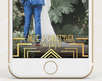 Gold Gatsby Wedding Geofilter, gold 1920s Geofilter, Wedding Retro Snapchat Geofilter, Gold art deco geofilter custom art deco geofilter W22
