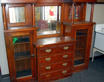 Antique 1910s Oak Built-In Cabinet Hutch, Buffet, Architectural Salvage, Bar