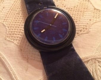Swatch Pop Watch navy blue Vintage 80s