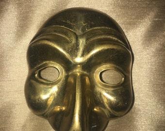 Vintage Brass Mardi Gras, Theater, Wall Hanging Mask