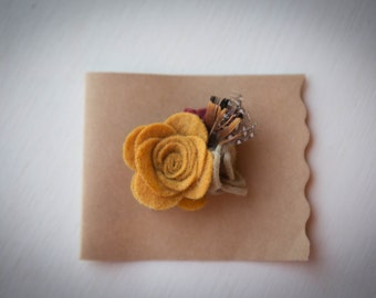 Sm Mustard Felt Flower with Feathers Hair Clip