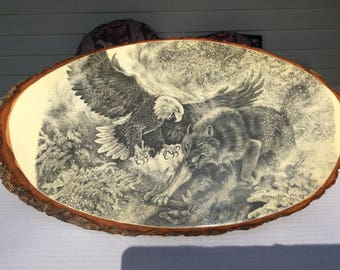Eagle Wolf Wood Plaque