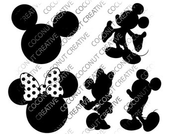 Mickey Mouse, Minnie Mouse, Mouse Ears svg dfx jpg jpeg eps layered cut cutting files cricut silhouette die cut decal vinyl