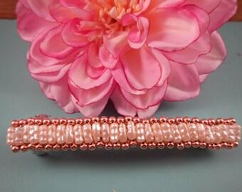 """4"""" Copper and Pearls Barrette"""