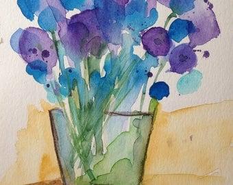 "Watercolor flowers 'flowers in the vase""17 x 24 cm, unique, wstercolor flowers"