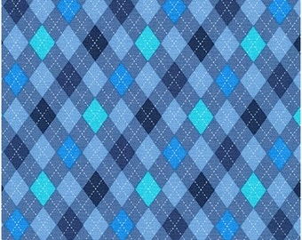 FREE Shipping (orders 35+ dollars) Robert Kaufman Classy Canine Argyle in Blue; 100% Cotton; Fat Quarter or By the Yard: AMF-16499-4 BLUE