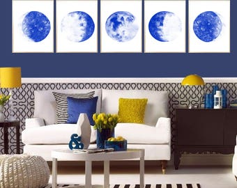 Moon Phases Watercolor Art Print Moon Phases Set of 5 Lunar Phases Poster Moon Painting Moon wall art Moon Phases art decor Moon Phases deco
