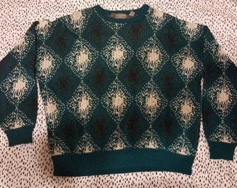 Oversized Vintage Banner Faded Diamond Print Sweater