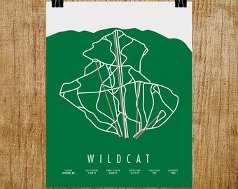 Wildcat Ski Trail Map, Wildcat NH, Wildcat Mountain, Wildcat Ski Resort, Wildcat Trail Map, Skier Gift, Snowboarder Gift, NH Art