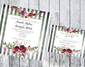 Square Stripped Floral Wedding Invitation and Respond Card