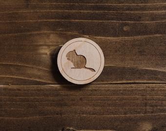 Wooden Chipmunk Silhouette Pin - Laser Cut Pin
