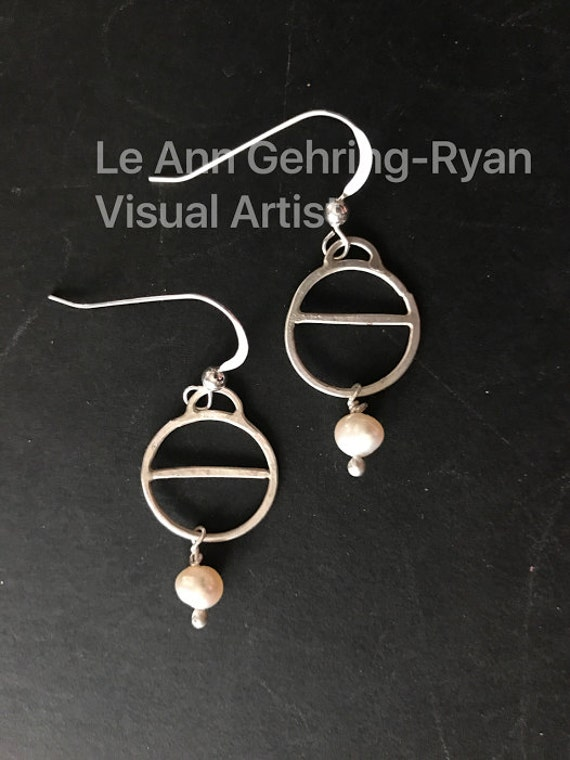 Hand Forged Sterling Silver Earring with Freshwater Pearl