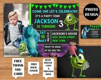 Monsters Inc Invitation Monsters Inc Birthday Invitations Monsters University Photo Invitation Sulley and Mike Wazowski Printable Invitation