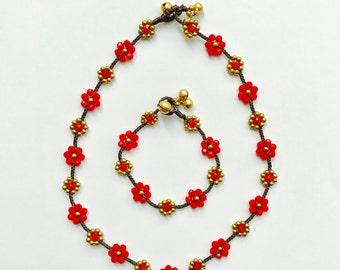 Beaded Flower Necklace & Bracelet Set - Red, Boho Jewelry, Bohemian Jewelry, Wax Cord Necklace, Wax Cord Bracelet, Hippie Jewelry