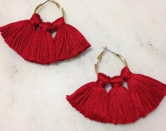 Scarlet Red Smaller Fringe Hoop Earrings