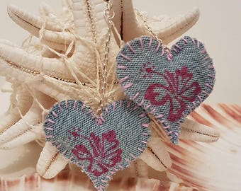 Hibiscus Hearts Handmade Denim Earrings