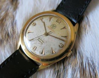 Vintage automatic SHD gold plated watch with patina, swiss ebauche - Montre vintage SHD automatique patinée plaquée or, ebauche suisse