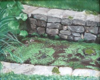 Original oil painting of Garden Wall
