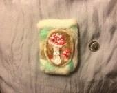 Fairy mushroom felted pouch