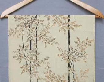 Light yellow/ Cream/ beige/black Kimono Silk Fabric. delicate trees/bamboo/ leaves Vintage Kimono Silk. sewing / craft supply /material