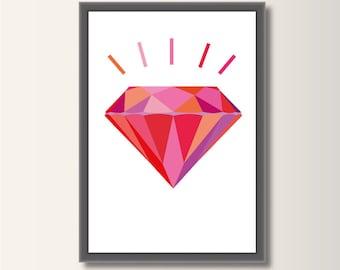 Diamond Pink, Geometric Print, Minimalist Print, Scandinavian Print, Abstract Poster, Minimal Print