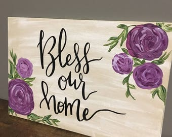 Bless our home floral wood sign