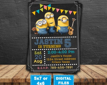 Minions invitation, minions printable, minion birthday invitations, minions party invite, minions birthday, minions digital, banana minions.