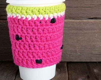Crochet Pink Watermelon Cup Cozy
