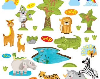 GET STICKING DÉCOR® Cute jungle safari animals wall stickers/ wall decals collection, safr.2. (Large)
