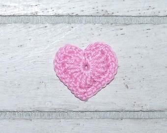 Heart - crochet heart - pink - patches - crochet - application