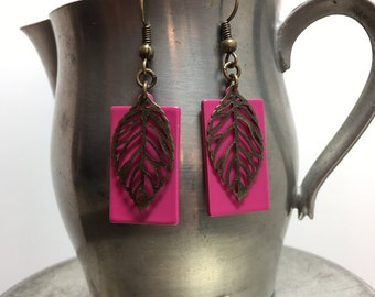 Hot Pink and Antique Brass Leaf Earrings