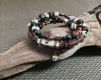 Black and White Bone and Antique Copper Large Memory Wire Bracelet