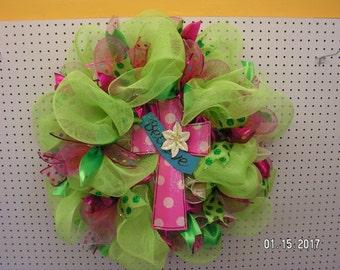 """XL Spring Deco Mesh Wreath Cross Easter Believe 28""""x28""""x11"""" Wall Door Decor"""
