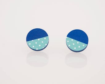 Bottonciotti--lobe earrings blue textured paper blue polka dots, handmade, ecofriendly