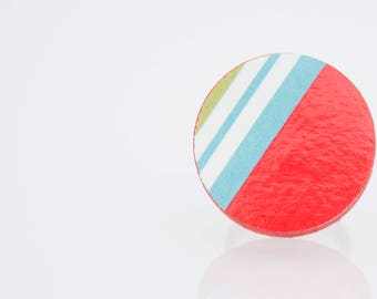 Cerchioso-ring of red colored textured paper, handmade, ecofriendly