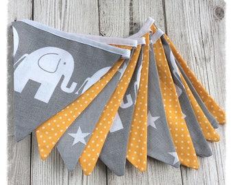 Grey and yellow Bunting/banner, elephant bunting, nursery bunting, nursery decor, newborn, baby shower, baby boy, baby girl