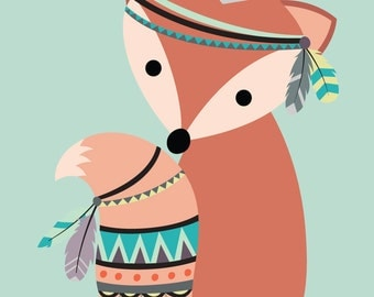 Tribal Fox Nursery Print, Fox Nursery Decor, Nursery prints, Printable Nursery Decor, Tribal Childs Prints, Kids Room, Fox Nursery Prints,
