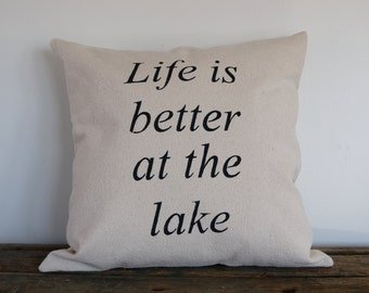 Life is better at the lake stencilled pillow, rustic decor, decorative pillow, nautical flair, gift idea, home decorating,country home decor