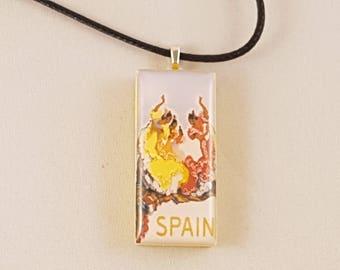 Flamenco Dancers Spain vintage travel poster domino resin pendant