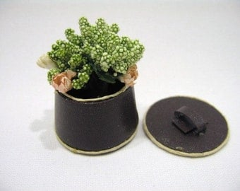 Dolls house miniature lavender in leather case with lid