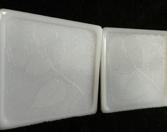 Vintage Glasbake Milk Glass Trivets - Set of 2